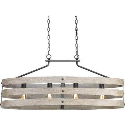 Emaria 4-Light Drum Pendant Finish: Graphite, Shade Color: Weathered Gray