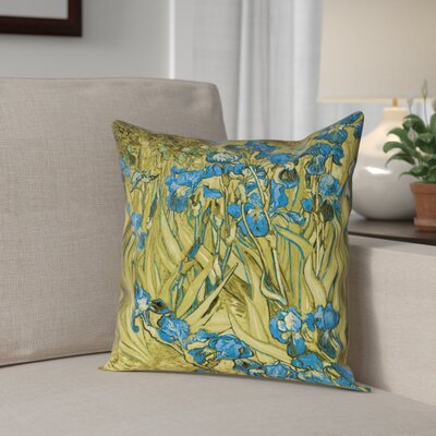 Bristol Woods Irises Outdoor Throw Pillow Color: Yellow/Blue, Size: 20 x 20