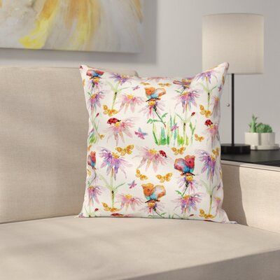 Butterflies and Flowers Pillow Cover Size: 24 x 24