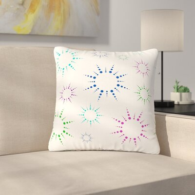 NL Designs Rainbow Fireworks Pattern Outdoor Throw Pillow Color: White, Size: 16 H x 16 W x 5 D