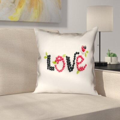 Buoi Love and Berries Square Double Sided Print Pillow Cover Size: 16 x 16