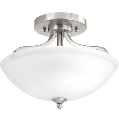 Van Reipen 2-Light Semi Flush Mount Fixture Finish: Brushed Nickel