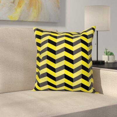 Chevron Warning Sign Square Cushion Pillow Cover Size: 16 x 16