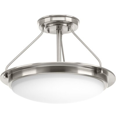 Vanderhoff 1-Light Semi Flush Mount Fixture Finish: Brushed Nickel, Size: 14.50 H x 21 W x 21 D