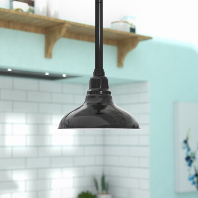 Idella Steel 1-Light LED Inverted Pendant Finish: Black with Black Downrod, Size: 9 H x 12 W x 12 D
