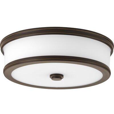 Vanderhoof 1-Light LED Flush Mount Fixture Finish: Antique Bronze, Size: 3.88 H x 13 W x 13 D