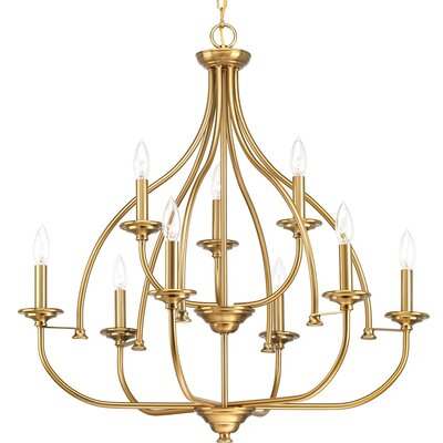 Perot 9-Light Candle-Style Chandelier Finish: Brushed Bronze