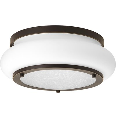 Vandermark 1-Light LED Flush Mount Fixture Finish: Antique Bronze, Size: 5 H x 15 W x 15 D