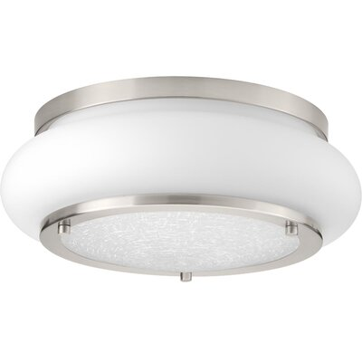 Vandermark 1-Light LED Flush Mount Fixture Finish: Brushed Nickel, Size: 5 H x 15 W x 15 D