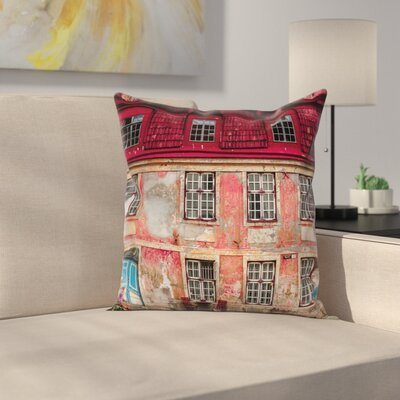 Urban Old City Tallinn Estonia Square Pillow Cover Size: 16 x 16
