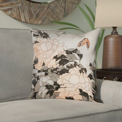 Clair Peonies with Butterfly Square Linen Pillow Cover Color: Orange, Size: 18 x 18
