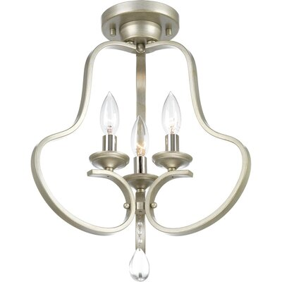 Brigida 3-Light Semi Flush Mount Fixture Finish: Silver Ridge
