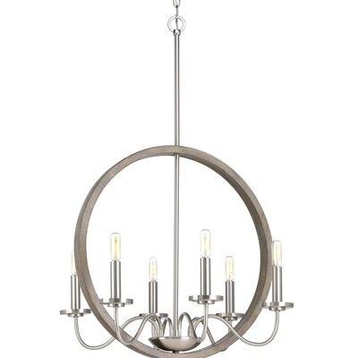 Maez 6-Light Candle-Style Chandelier Finish: Brushed Nickel