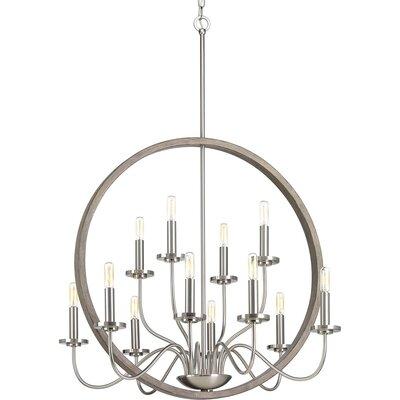 Maez 12-Light Candle-Style Chandelier Finish: Brushed Nickel