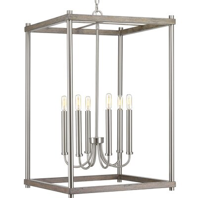 Maez 6-Light Geometric Pendant Finish: Brushed Nickel