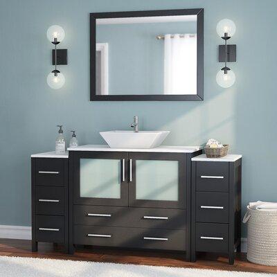 Karson 60 Single Bathroom Vanity Set with Mirror Base Finish: Espresso