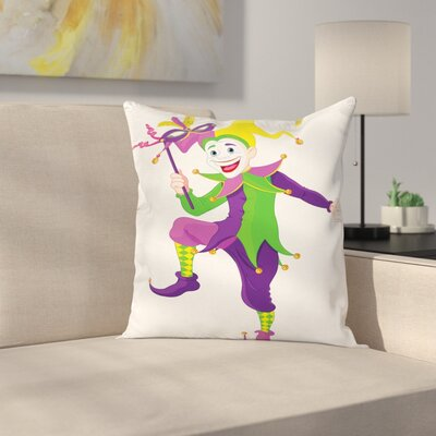 Mardi Gras Cartoon Icon Jester Square Cushion Pillow Cover Size: 18 x 18