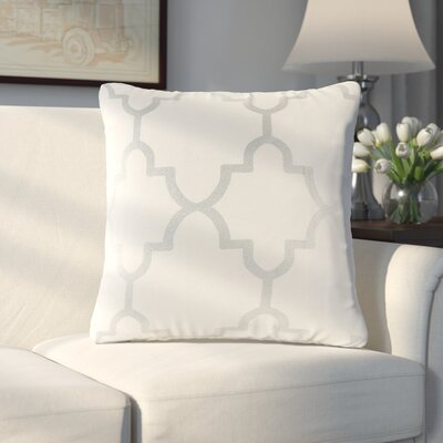 Allard Fretwork Throw Pillow Color: Ivory/Sliver