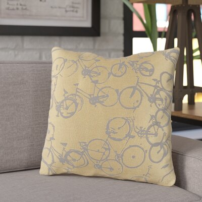 Ellen Bicycle Print Throw Pillow Size: 18 H x 18 W x 4 D, Color: Gold / Gray, Filler: Polyester