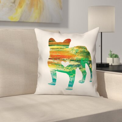 Nunlist Silhouette Frenchie Throw Pillow in , Cover Only Color: Green/Orange/Yellow, Size: 18 x 18
