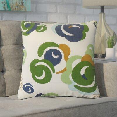 Zona Floral Cotton Throw Pillow Color: Green