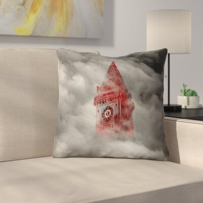 Watercolor Gothic Clocktower Outdoor Throw Pillow Size: 18 x 18