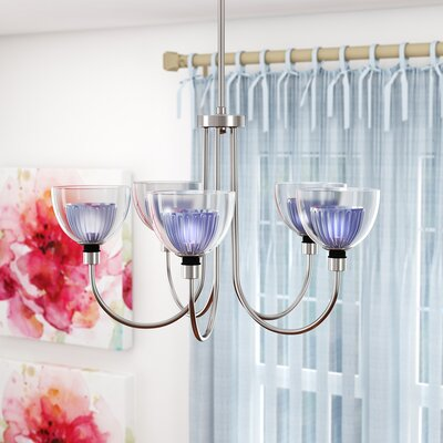 Brandt 5-Light Shaded Chandelier Finish: Blue