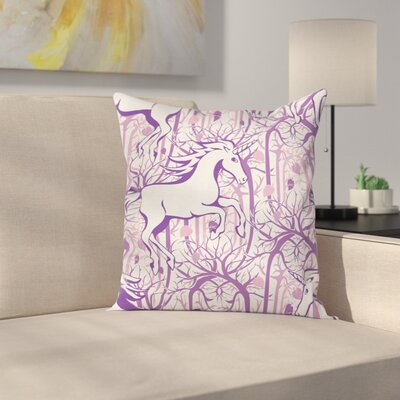 Unicorn Magic Fairytale Forest Square Pillow Cover Size: 18 x 18