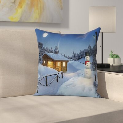 Winter Rustic Wood Cottage Square Pillow Cover Size: 16 x 16