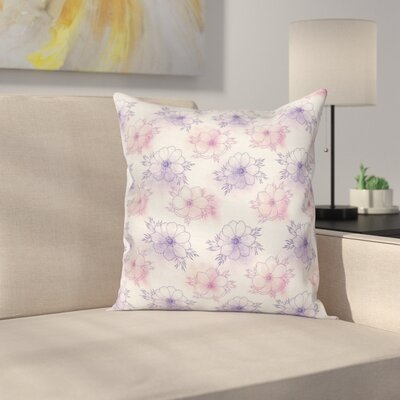 Anemone Spring Artwork Square Cushion Pillow Cover Size: 24 x 24