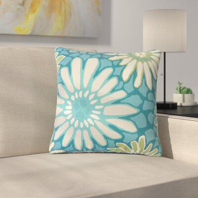 Strock Floral Cotton Throw Pillow Color: Green