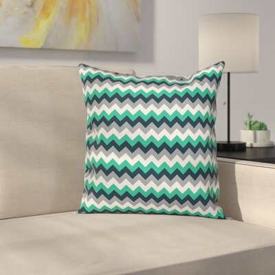 Chevron Symmetric Arrows Stripe Cushion Pillow Cover Size: 18 x 18