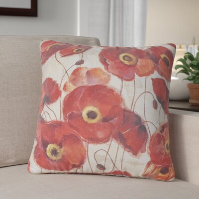 Claudine Poppies Throw Pillow Size: 26 H x 26 W x 7 D