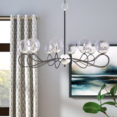 Causeway 10-Light Candle-Style Chandelier Finish: Textured Black/PolishedNickel, Bulb Type: G9 Xenon