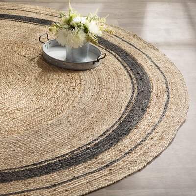 Cheryl Mist Hand-Braided Tan/Gold/Gray Area Rug Rug Size: Round 8