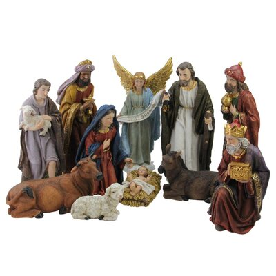 Christmas Nativity Figure Set with Coloured Accents B696BB541800413DB6BB5A2CF95D0B3E