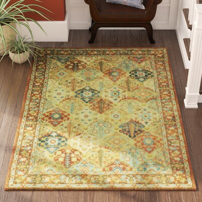 Janelle Red/Orange Area Rug Rug Size: 53 x 76