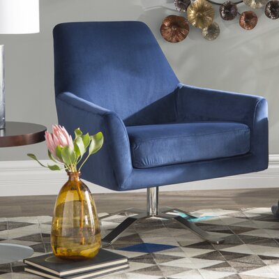 Edmund Swivel Armchair Upholstery: Navy Blue