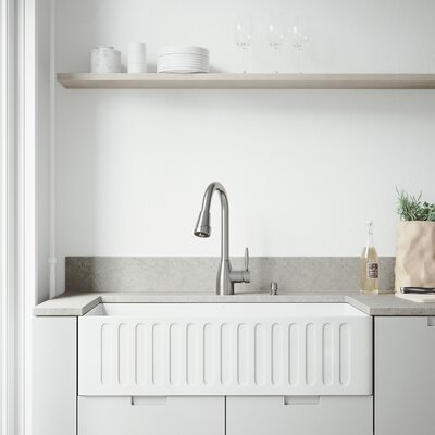 All-In-One Matte Stone 36 x 18 Farmhouse/Apron Kitchen Sink with Faucet