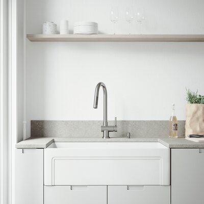 All-In-One Casement Front Matte Stone 33 x 18 Farmhouse/Apron Kitchen Sink with Faucet