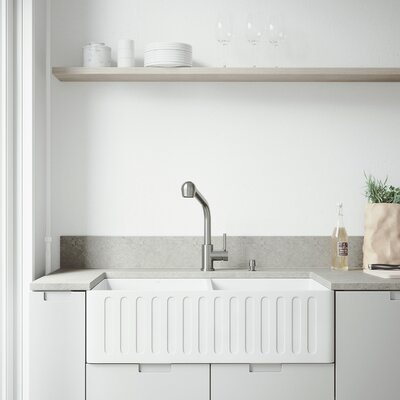 All-In-One Matte Stone 33 x 18 Double Basin Farmhouse/Apron Kitchen Sink with Faucet