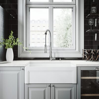 All-In-One Casement Front Matte Stone 30 x 18 Farmhouse/Apron Kitchen Sink with Faucet