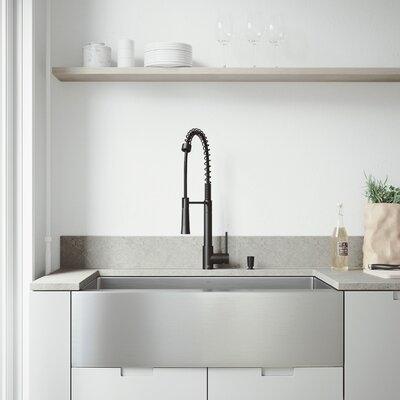 All-In-One Bedford 36 x 22.25 Farmhouse/Apron Kitchen Sink with Faucet