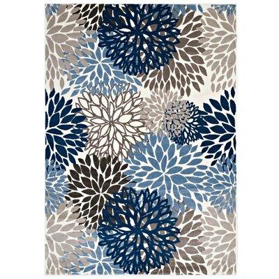 Hillam Vintage Classic Floral Blue/Brown/Beige Area Rug Rug Size: 5 x 8