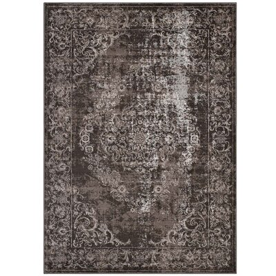 Orman Rustic Vintage Ornate Floral Medallion Antique Light/Dark Brown Area Rug Rug Size: 8 x 10
