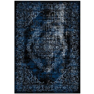 Orman Rustic Vintage Ornate Floral Morrocan Blue/Light Blue Area Rug Rug Size: 5 x 8