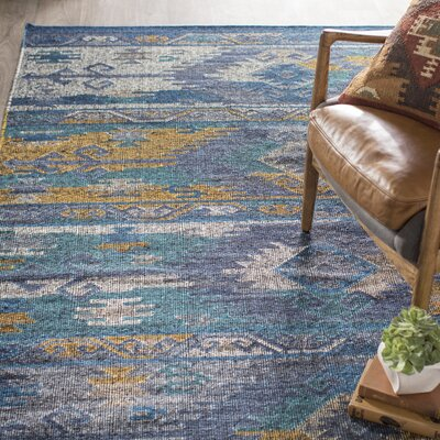 Elan Hand-Woven Blue/Gold Area Rug Rug Size: Rectangle 8 x 10
