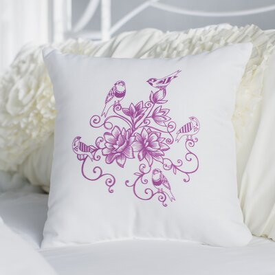 Auserine Five Little Birds Floral Print Throw Pillow Size: 16 H x 16 W, Color: Purple