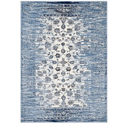 Crader Distressed Floral Lattice Contemporary Morrocan Blue/Ivory Area Rug Rug Size: 5 x 8