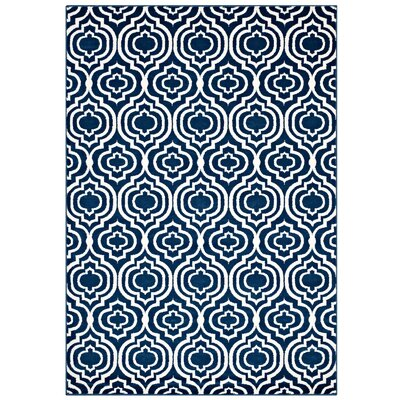Oak Brook Frame Transitional Trellis Moroccan Blue/Ivory Area Rug Rug Size: 8 x 10